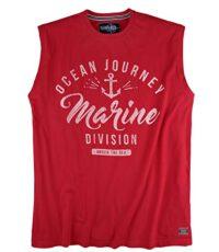 Redfield mouwloos t-shirt grote maat rood Ocean Journey