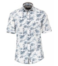 Casa Moda grote maat overhemd korte mouw blauw en witte Hawaii print