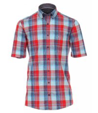 Casa Moda grote maat overhemd korte mouw blauw en rode ruit