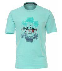 Casa Moda t-shirt grote maat turquoise the sun clifton beach