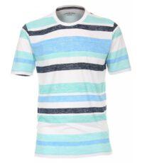 Casa Moda t-shirt grote maat groen, blauw en witte breedte banen