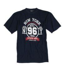 Adamo grote maat t-shirt korte mouw navy New York
