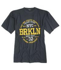 Adamo grote maat t-shirt korte mouw antracietgrijs New York