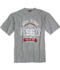 Adamo grote maat t-shirt korte mouw grijs New York
