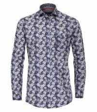 Casa Moda grote maat overhemd lange mouw blauw blad patroon