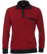 Casa Moda grote maat trui rood met blauw polokraag rits