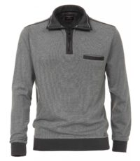 Casa Moda grote maat trui grijs met donkergrijs polokraag rits