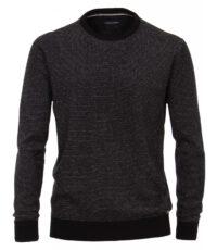 Casa Moda grote maat ronde hals trui zwart en grijs streepje