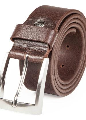 Extra lange rund lederen riem 4cm breed bruin