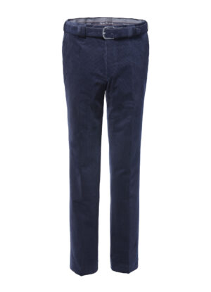 Luigi Morini grote maat stretch ribcord pantalon donkerblauw