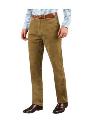 Luigi Morini grote maat stretch ribcord pantalon camel