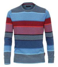 Casa Moda grote maat ronde hals trui blauw en rood