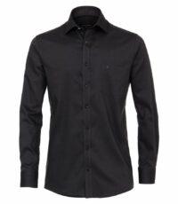 Casa Moda grote maat overhemd lange mouw zwart structuur strijkvrij