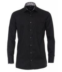 Casa Moda overhemd extra lange mouwlengte7 zwart contrast strijkvrij