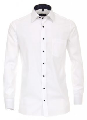 Casa Moda overhemd extra lange mouwlengte7 wit contrast kraag