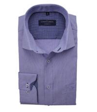 Casa Moda overhemd extra lange mouwlengte7 blauw contrast kraag strijkvrij