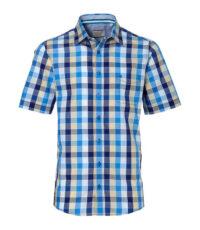 Casa Moda grote maat overhemd korte mouw blauw en beige ruit