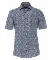 Casa Moda grote maat overhemd korte mouw blauw en brique fantasie printje