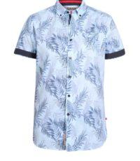 D555 grote maat korte mouw Hawaii overhemd lichtblauw