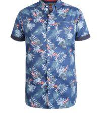 D555 grote maat korte mouw Hawaii overhemd donkerblauwe print