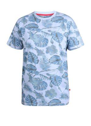D555 grote maat t-shirt blauw blad print