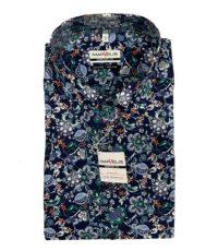 Marvelis grote maat overhemd korte mouw donkerblauw bloem print strijkvrij