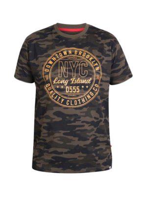 D555 grote maat t-shirt groene camouflage print