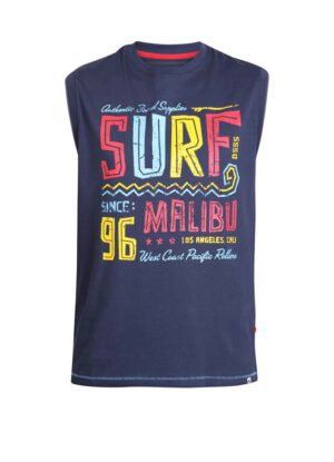 D555 grote maat mouwloos t-shirt donkerblauw Surf Malibu
