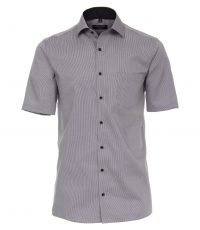 Casa Moda grote maat overhemd korte mouw antracietgrijs structuurtje strijkvrij