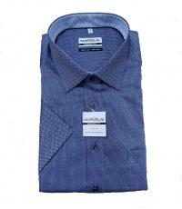 Marvelis grote maat overhemd korte mouw blauw ingeweven motiefje strijkvrij