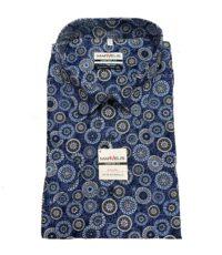 Marvelis grote maat overhemd korte mouw blauw fantasie print strijkvrij