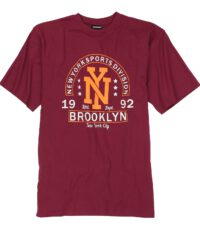 Adamo grote maat t-shirt rood New York Sports Division