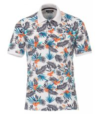 Casa Moda grote maat poloshirt wit Hawaii print