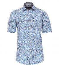 Casa Moda grote maat overhemd korte mouw blauw en wit bloem patroon