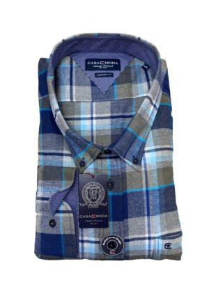 Casa Moda grote maat overhemd lange mouw blauw en beige ruit flanel