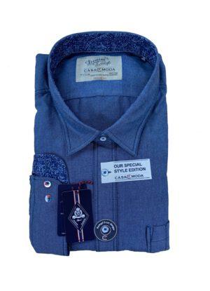 Casa Moda grote maat overhemd lange mouw blauw gemeleerd