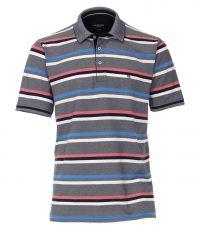Casa Moda grote maat poloshirt blauw met rood en wit