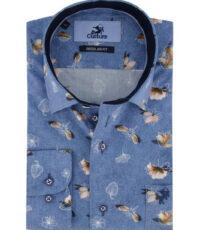 Culture grote maat overhemd lange mouw blauw bloem patroon