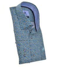 Culture grote maat overhemd korte mouw blauw balletjes patroon