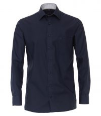 Casa Moda grote maat lange mouw overhemd donkerblauw contrast strijkvrij