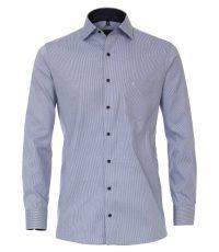 Casa Moda grote maat lange mouw overhemd blauw werkje strijkvrij