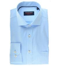 Casa Moda grote maat lange mouw overhemd lichtblauw ingeweven werkje strijkvrij