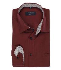 Casa Moda grote maat lange mouw overhemd bordeauxrood contrast strijkvrij