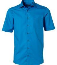 Casa Moda grote maat korte mouw overhemd blauw strijkvrij