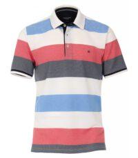 Casa Moda grote maat poloshirt rood met wit en blauwe banen