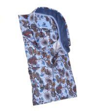 Culture overhemd mouwlengte7 in een blauw bloem patroon