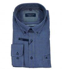 Casa Moda grote maat lange mouw overhemd blauw, donkerblauw en wit fantasie