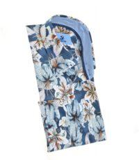 Culture mouwlengte7 overhemd donkerblauw bloem motief