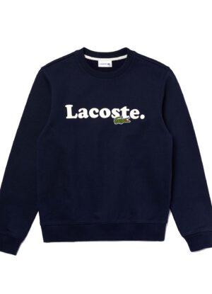 Lacoste grote maat sweater ronde hals donkerblauw