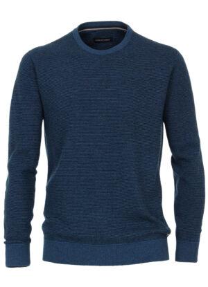 Casa Moda grote maat ronde hals trui blauw met zwart streepje